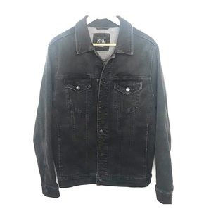 Zara black wash denim jacket